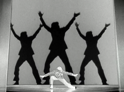 "Fred Astaire performing ""Bojangles in Harlem"" number, where he dressed like a blackface minstrel and danced with his shadows to pay homage to Bill ""Bojangles"" Robinson."